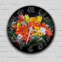 Круглые настенные часы Цветы 2, 30х30 см