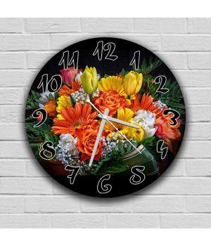 Круглий настінний годинник Квіти 69078, 30х30 см
