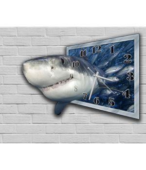 Фигурные настенные часы с 3D эффектом IdeaX Акула F8, 30х40 см