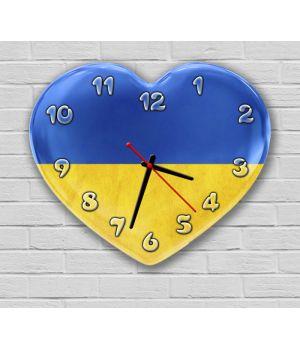 Фігурний настінний годинник з 3D ефектом IdeaX Серце, Україна F48, 30х36 см