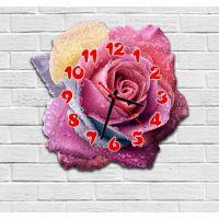 Фигурные настенные часы с 3D эффектом IdeaX Роза F28, 30х30 см