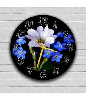 Круглые настенные часы Цветы, 30х30 см