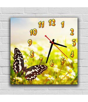 Настінний годинник квадратний Чарівна Метелик, 30х30 см