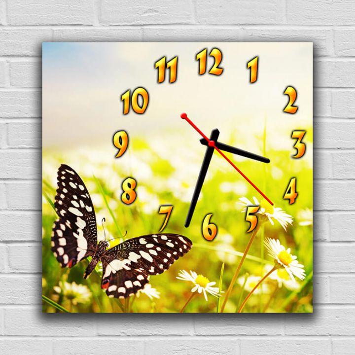 Часы квадратные настенные Прелестная Бабочка, 30х30 см