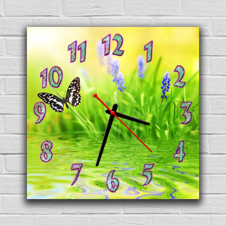 Часы квадратные настенные Бабочка, 30х30 см