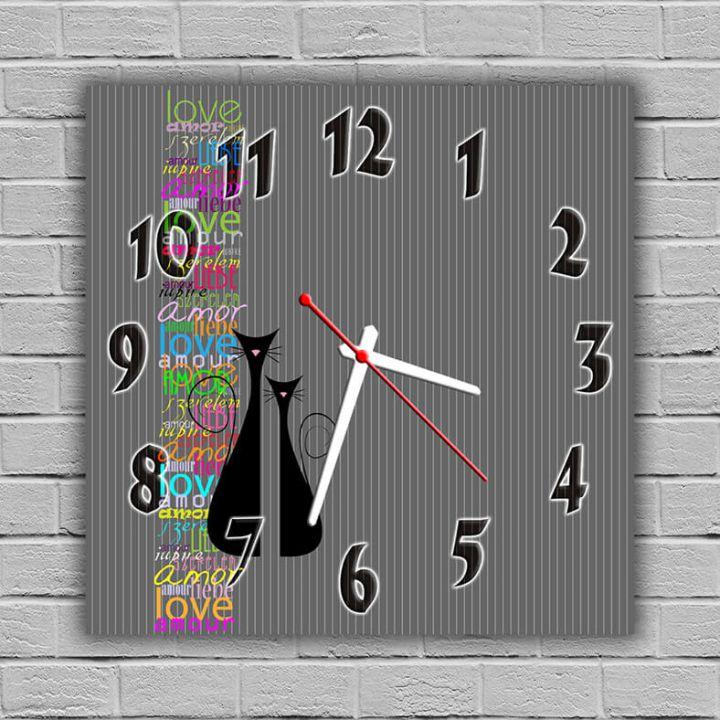 Настенные часы квадратные Черные Котики