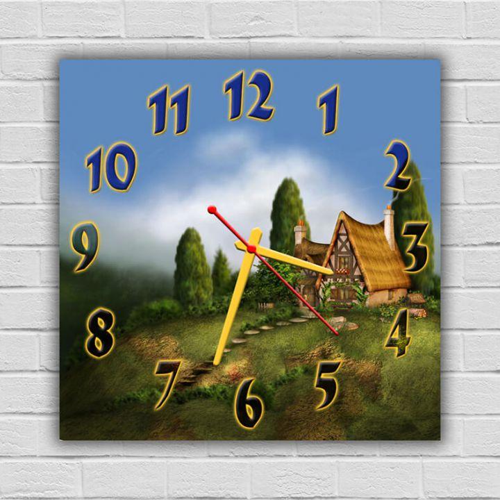 Часы квадратные настенные Домик на Опушке, 30х30 см