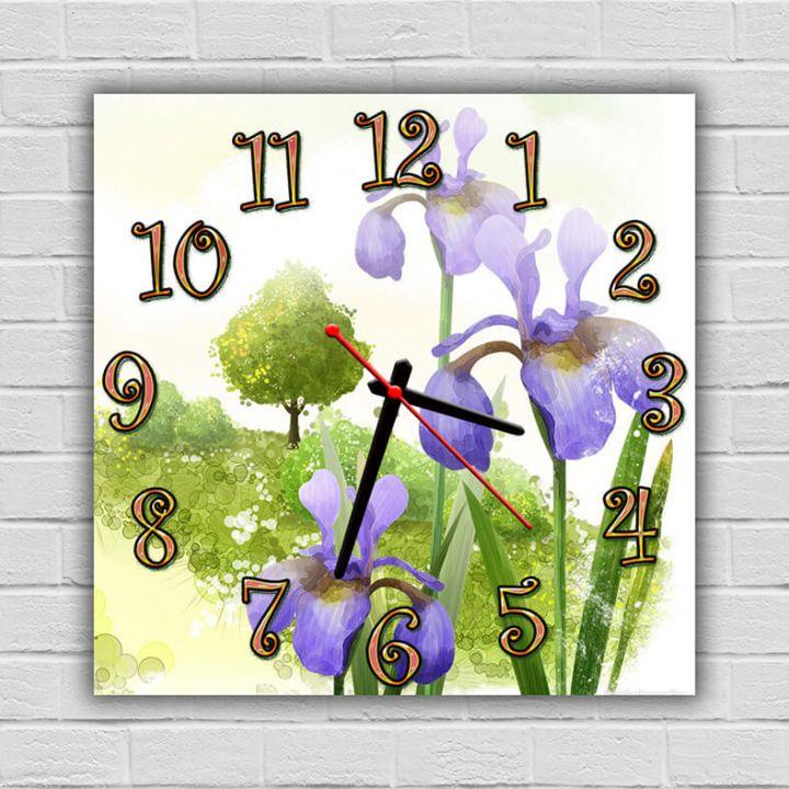 Часы квадратные настенные Ирисы, 30х30 см