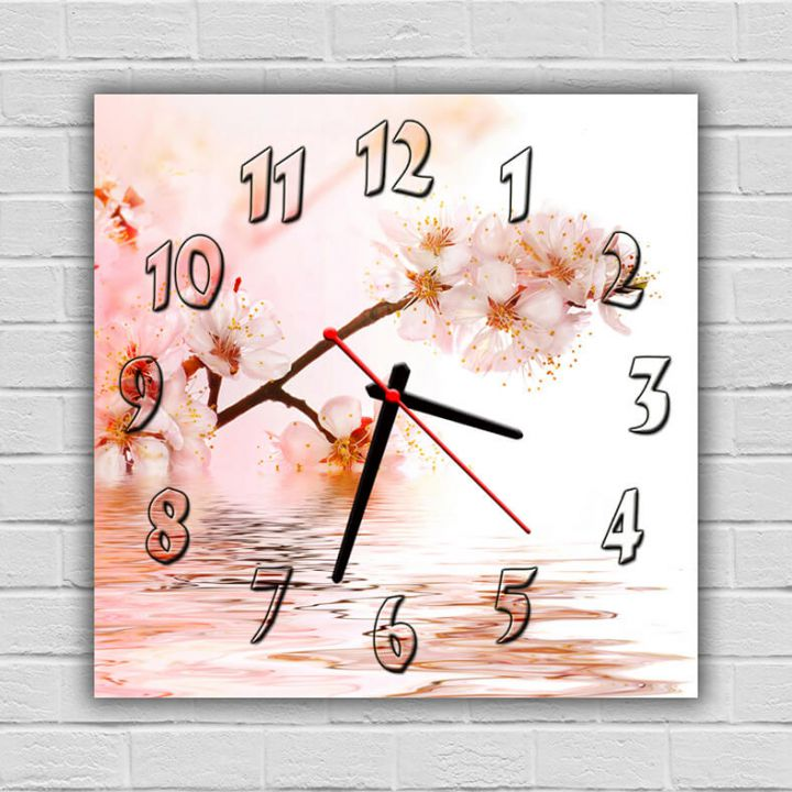 Часы квадратные настенные Вишневый Цвет