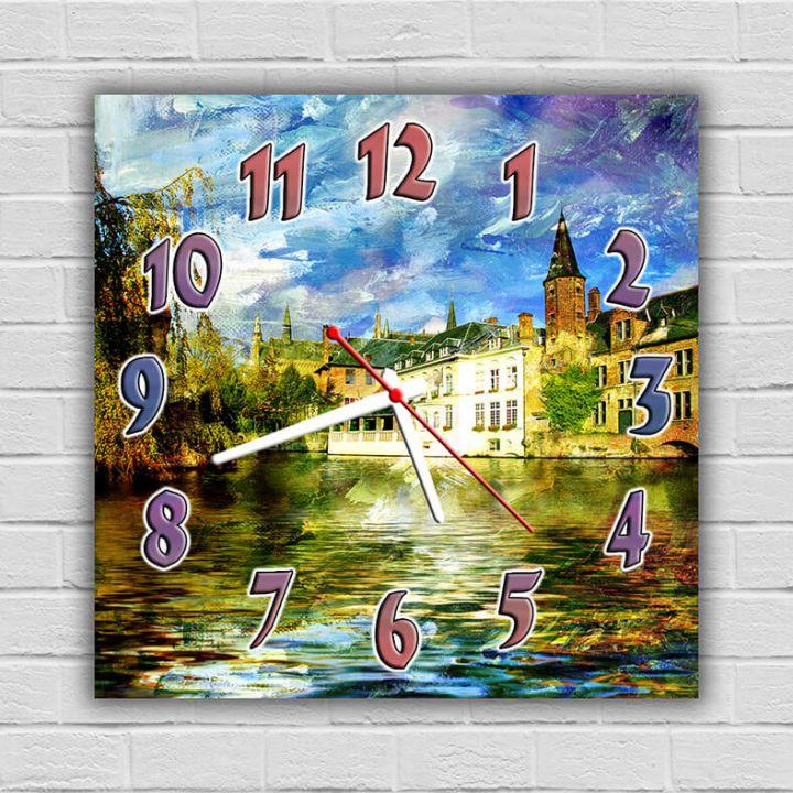 Часы квадратные настенные Городок на Воде