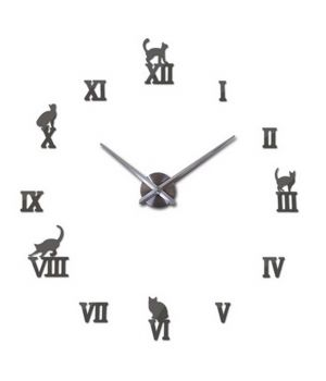 Діаметр 60-130 см, 3Д Годинник на стіну, Cats Кішки T4220, Темне срібло