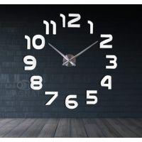 Диаметр 60-130 см, 3Д часы на стену с клеящимися цифрами без корпуса для зала/гостиной Арабские цифры White