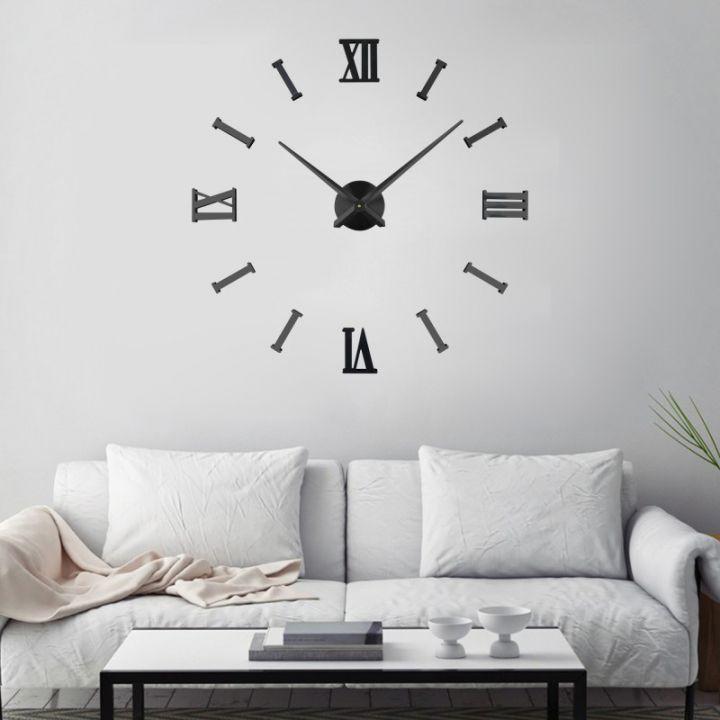 Настенные часы с клеящимися цифрами Римские/полосы 2018 BLACK