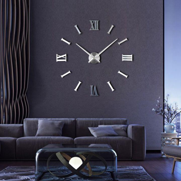 Большие настенные 3Д часы Римские/полосы 2018 Silver