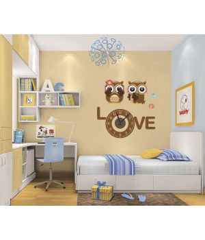 Часы наклейка настенные виниловые Love owl, 56х55 см