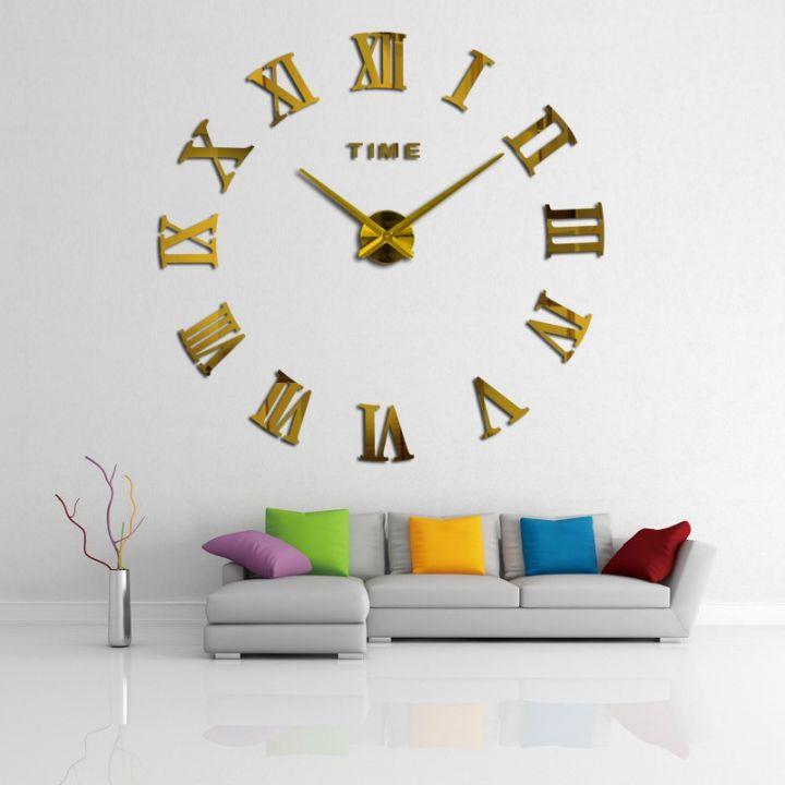 Большие настенные 3Д часы Римские цифры Gold