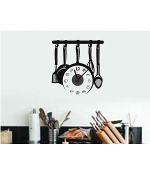 Часы наклейка настенные виниловые Kitchen clock, 42x40 см