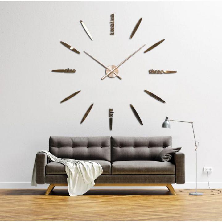 Огромные часы 3D для гостиной на всю стену 4212, цвет медь