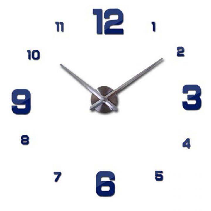 Диаметр 60-130 см, 3Д Часы на стену, 4205, синего цвета