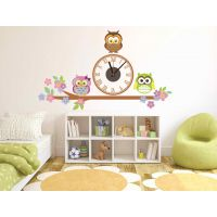 Годинник настінний вінілова наклейка Owl, 93х56 см