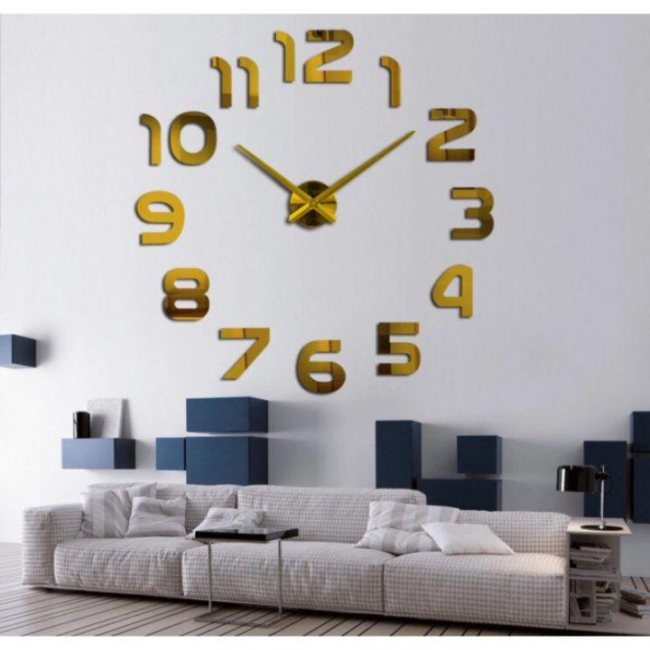 Большие золотые часы Арабские цифры Gold