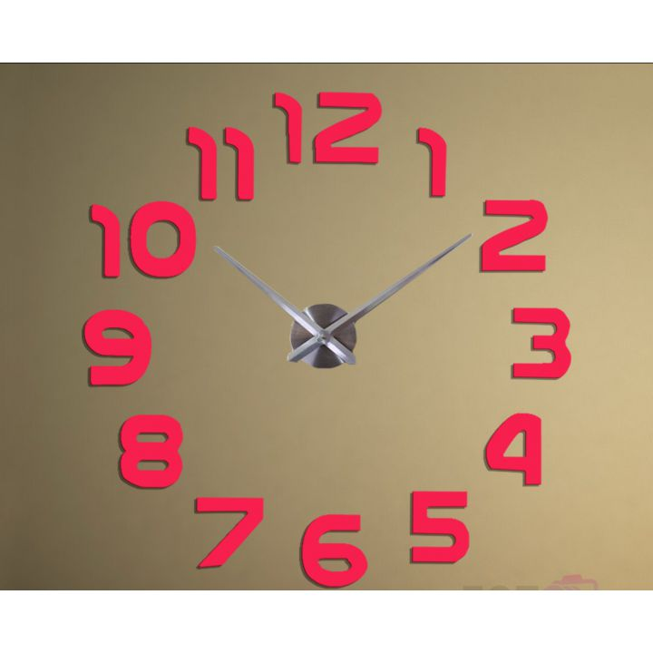 Диаметр 60-130 см, 3Д Часы на стену, Арабские цифры Розовые