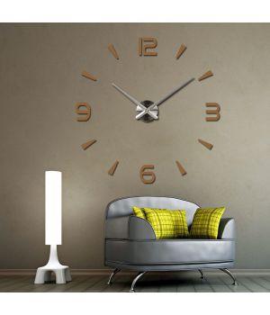 Діаметр 60-130 см, 3Д Годинник на стіну, Арабські полоси, коричневого кольору