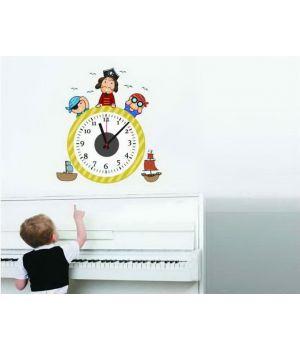 Часы наклейка настенные виниловые Pirate, 58x57 см