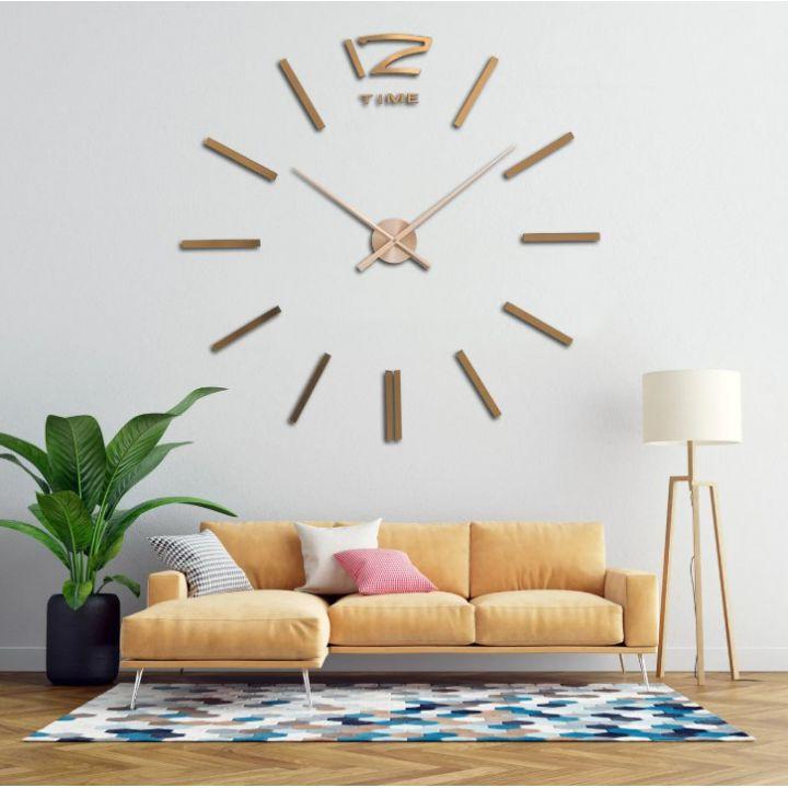 Огромные часы 3D для гостиной на всю стену 12 Time, цвет медь
