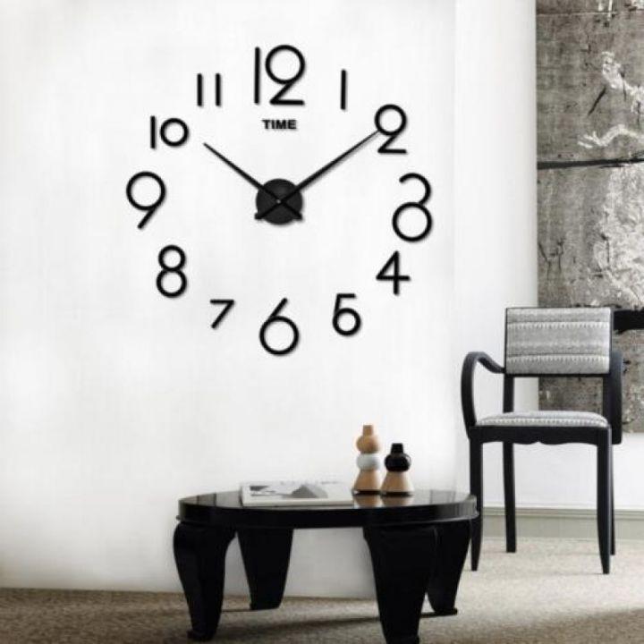 Большие настенные 3Д часы 2017 Black