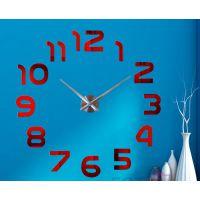Діаметр 60-130 см, 3Д Годинник на стіну, Арабські цифри Червоний