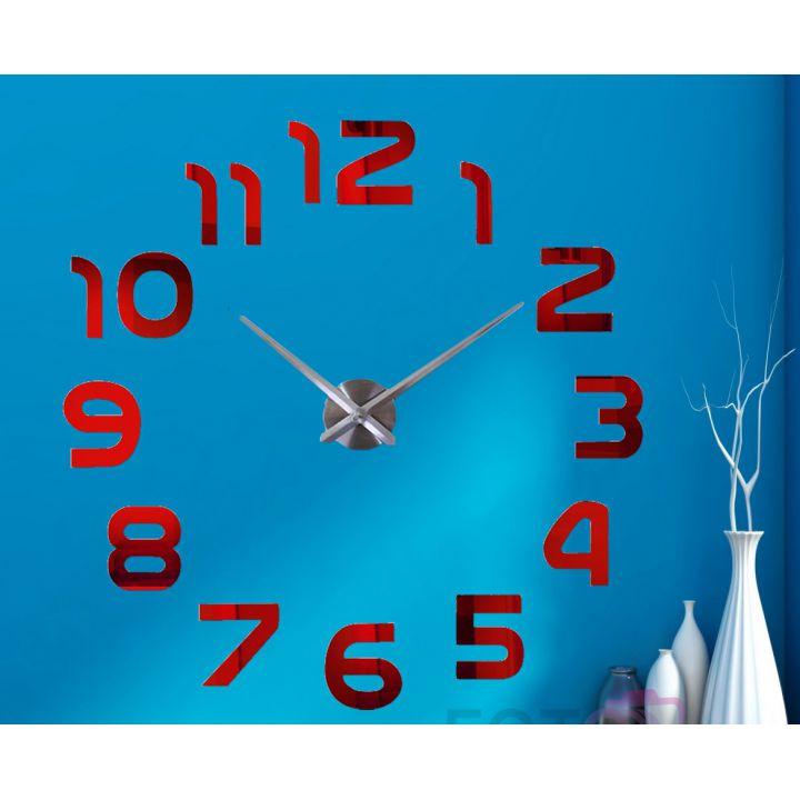 Диаметр 60-130 см, 3Д Часы на стену, Арабские цифры Красные