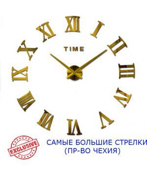 Діаметр 90х130 см, виробництво Чехія, 3Д Годинник на стіну, Римські цифри Золото