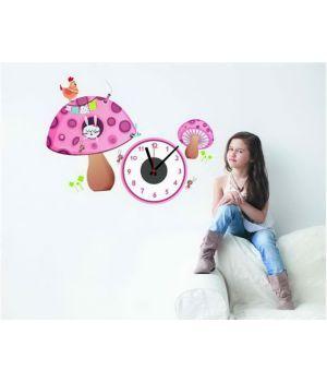 Часы наклейка настенные виниловые Mushroom, 70х54 см