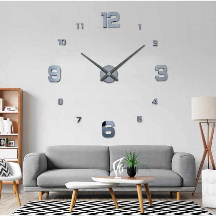 Огромные часы 3D для гостиной на всю стену 4205, Темно-серые