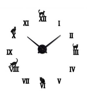 Діаметр 60-130 см, 3Д Годинник на стіну, Cats Кішки T4220, чорного кольору