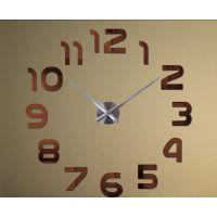Діаметр 60-130 см, 3Д Годинник на стіну, Арабські цифри Коричневі