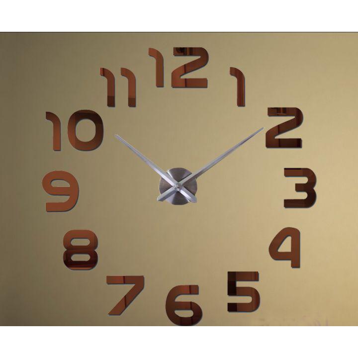 Диаметр 60-130 см, 3Д Часы на стену, Арабские цифры Коричневые