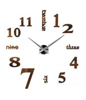 Діаметр 60-130 см, 3Д Годинник на стіну, Написи, коричневого кольору
