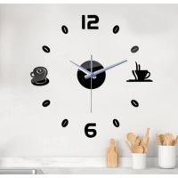 Диаметр 50 см, Оригинальные часы 3D, дизайнерские объемные часы на стену Coffee, цвет черный
