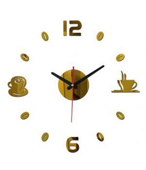 Диаметр 50 см, Оригинальные часы 3D Coffee, цвет золотой