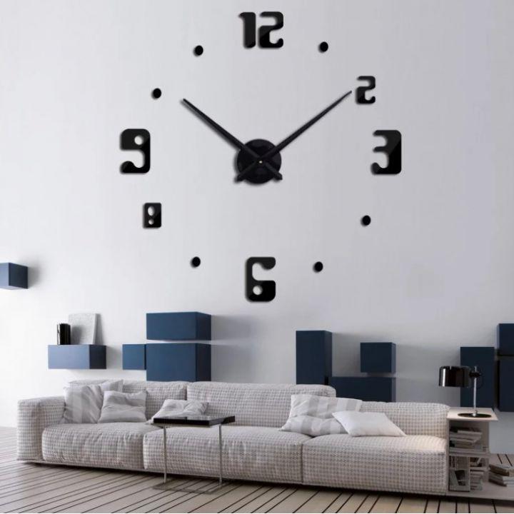 Огромные часы 3D для гостиной на всю стену 4209 Black