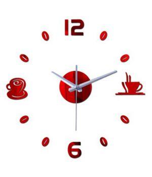 Диаметр 50 см, Оригинальные часы 3D Coffee, цвет красный