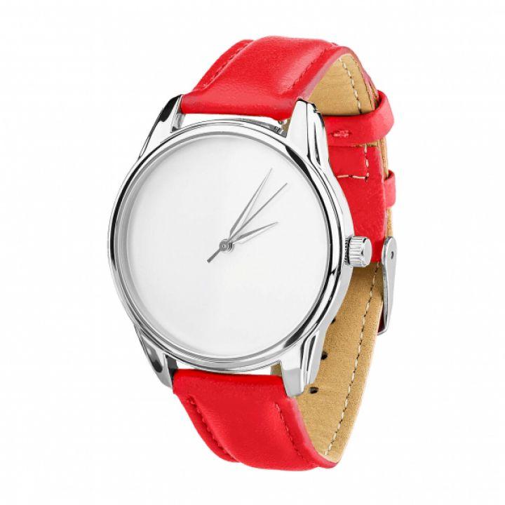 Часы наручные женские молодежные с рисунком, 2 ремешка, Минимализм красный, серебро