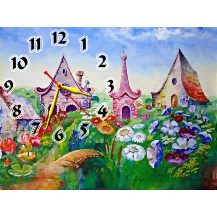 Годинник на стіну дитячий Казкове Містечко, 30х40 см