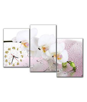 Модульные настенные часы Белая Орхидея