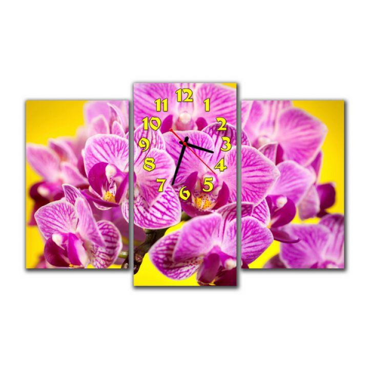 Модульные часы Малиновые орхидеи