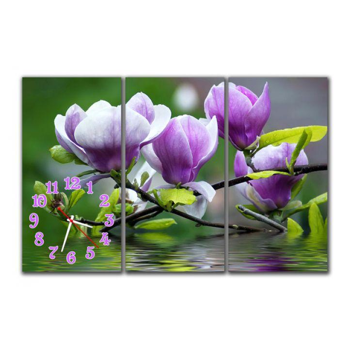 Модульний настінний годинник Квіти на воді