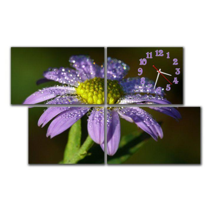 Модульные часы в спальню Синий цветок