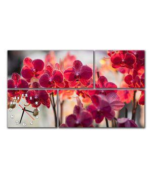 Модульные настенные часы Бордовые орхидеи